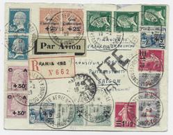 PASTEUR CAISSE AMORTISSEMENT + DIVERS LETTRE REC AVION POSTE AERIENNE INDOCHINE LETTRE REC AVION 1929 ACCIDENT AVION - 1922-26 Pasteur