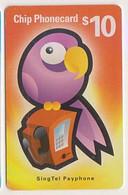 Singapore Old Chip Phonecard Singtel Animal Birds Parrot Payphone - Pappagalli