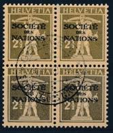 HELVETIA - Dienstmarken/Timbres De Service: S.D.N.- Mi Nr 26x (Viererblock) - Gest./obl. - Dienstzegels