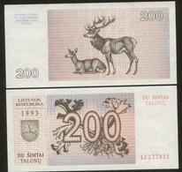 Lithuania 200 Talonas  1993  Pick 45 UNC - Lithuania