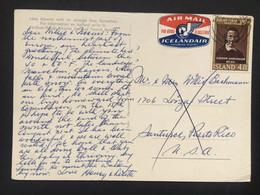 Iceland 1963 Air Mail Postcard To USA - Brieven En Documenten