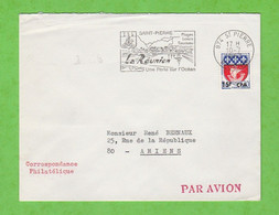 ILE DE LA REUNION - FLAMME 974 ST PIERRE PLAGES LOISIRS TOURISME UNE PERLE SUR L'OCEAN DE 1967 - Mechanical Postmarks (Advertisement)