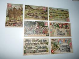 SUISSE LOT 7 CPA GAUFFREES CHAMPERY MONTREUX SOLDATENGRUSS GENEVE DEBUT 1900 - Sonstige