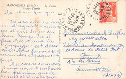 Cachet Manuel Rond Marcoussis 1952 Seine Et Oise 91 Essonne Sur Cpa La Ronce Façade D' Entrée Marianne De Gandon - Matasellos Manuales