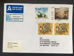 Iceland 1997 Registered Kópavogur Air Mail Cover To Cheshire UK - Covers & Documents