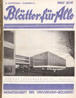 Bauhaus Zeitschrift Blätter Für Alle Titelbild Und Berichte über Bauhaus Im Heft Monatsschrift Der Universum Bücherei II - Sin Clasificación