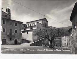 CINETO ROMANO-ROMA-PIAZZA SAN GIOVANNI E CHIESA PARROCCHIALE-CARTOLINA VERA FOTOGRAFIA-VIAGGIATA NEL1951 - Other