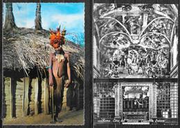 Mondo: 4 Cartoline Viaggiatee Non, Papua New Guinea, Italia, Svizzera, Sudan - Wereld