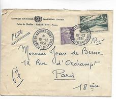 PARIS CAD NATIONS UNIES Assemblée Générale Pneumatique Verso Place Des Abbesses - Chaillot 1951      .G - 1921-1960: Modern Tijdperk