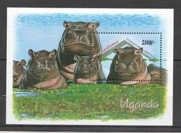 H039 UGANDA FAUNA WILD ANIMALS HIPPOPOTAMUS BL MNH - Other