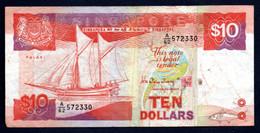 Banconota Singapore - 10 Dollari, Circolata 1988 - Singapore