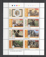 H044 1994 UGANDA ANIMALS WILD CATS & DOGS ZEBRA FAUNA CELEBRATE THE WILD KB MNH - Other