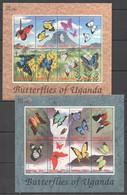 H066 2000 UGANDA BUTTERFLIES  OF UGANDA FLORA & FAUNA !!! 2KB MNH - Butterflies