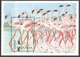 H067 1990 UGANDA FAUNA BIRDS FLAMINGO 1BL MNH - Flamingo