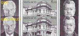 Monaco N°39** 2 Bloc Avec Variété De Couleur. Gris Et Violet- Gris - Errors And Oddities