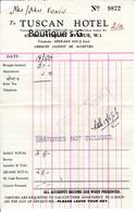 Facture Royaume Uni 1954 Tuscan Hotel Vonin - United Kingdom