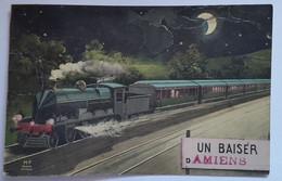 Carte Postale Amiens Un Baiser D'Amiens Train - Amiens
