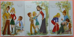LOT 3 CARTES BONNE FETE MAMAN - ILLUSTRATEUR MARIA ROSA GARCIA - VINTAGE 70 -2 SCANS-15 - Festa Della Mamma
