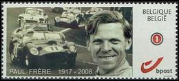 DUOSTAMP/MY STAMP** Paul Frère, Né 1917 + 2008 Journaliste & Pilote Automobile Belge/Belgische Journalist En Autocoureur - Coches