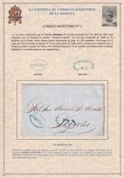 1850. LA HABANA A LOGROÑO. MARCA CORREO MARITIMO Nº 2 Y FRANCO RECERCADO. EMPRESA CORREOS MARÍTIMOS. PRECIOSA. - Prefilatelia