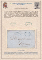 1849. LA HABANA A LOGROÑO. MARCA CORREO MARITIMO Nº 3 Y FRANCO RECERCADO. EMPRESA CORREOS MARÍTIMOS. MUY BONITA. - Prefilatelia