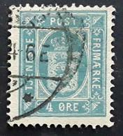 DANMARK DANEMARK 1875, Timbre De Service Yvert No 6B , 4 Ore Bleu D 14  , Obl TB - Dienstzegels