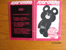 1980 MOSCOW OLYMPICS MISHA BEAR MASCOT ESTONIA SPORTS LOTTERY  ,  CALENDAR  ,  O - Small : 1971-80
