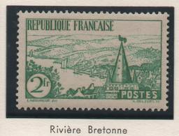 Sites Et Monuments - Rivière Bretonne - 1935 - 2 F Vert - Neuf - Yvert N° 301 - Trace Probable De Charnière - Ungebraucht