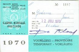 Carte D'Entrée Casino - Kursaal, Ostende. Cercle Privé. 1970. - Toegangskaarten
