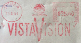 CINEMA - TARGHETTA ROSSA VISTA VISION ROMA 16/6/54 0,25 - SU BUSTA DELLA PARAMAUNT FILMS OF ITALY - Errors And Curiosities