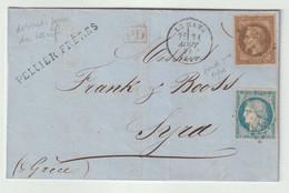 """N°30 Variété """"fond Ligné"""" + Cérès N° 37/ Lettre Du Mans Pour Syra En Grèce - 1863-1870 Napoléon III. Laure"""