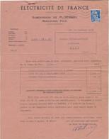 FACTURE ELECTICITE DE FRANCE -PLOERMEL -MORBIHAN - ANNEE 1954 - Electricity & Gas