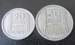 Algérie - 2 Monnaies : 20 Francs Et 50 Francs Turin 1949 - Algeria