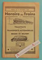 BELFORT 1935 Livret 34p Horaires Trains Tramways & Transports Automobiles - Nombreuses Publicités (brasseries, Etc) - Europe
