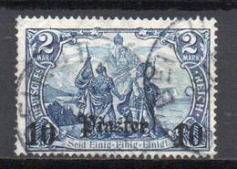 - TURQUIE / BUREAUX ALLEMANDS N° 49 Oblitéré (signé) - 10 Pi. S. 2 M. 1905-13 (filigrane Losanges) - Cote 50,00 € - - Offices: Turkish Empire