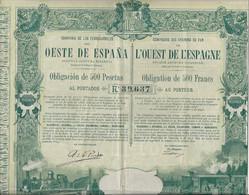 COMPAGNIE DES CHEMINS DE FER DE L'ESPAGNE-OBLIGATION ILLUSTREE DE 500 FRS -ANNEE 1894 - Railway & Tramway
