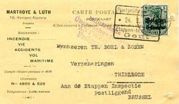 1916 Kaart Van Matroye & Luth Anvers Naar Thielrode Via Gent En Postliggend Brussel - Vrijgegeven Antwerpen - War 1914-18