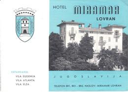 "Lovran Jugoslavija Croatia 1955 Deko 6-s Chromo Faltprospekt "" Hotel Miramar "" Reklame A6 Hrvatska Adria Jadran - Advertising"