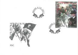 FDC 947-8 Czech Rep. WW1 Fight For The Czech Statehood 2017 Masaryk Stefanik Benes Jirasek Kvapil Lenin Stamp On Stamp - WW1