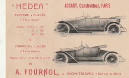 *** RARE *** ACCARY Constructeur PARIS TORPEDO HEDEA FOURNOL MONTBARD  -TTBE - Passenger Cars