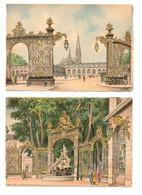 NANCY (54) - La Place Stanislas Et La Fontaine D'Amphitrite  - Illustrateur Barday (2 Cartes) - Nancy