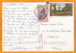 1974 - CP  Par Avion De Nouméa Vers Castres, Tarn - Affranchissement 21 F - Vue : Le Mont Doré Vu De Magenta - Covers & Documents