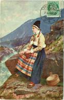 Illustrateur : ENDER, Axel. Femme En Costume Traditionnel Norvégien. Norge. Mode. - Other Illustrators