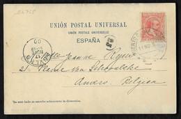 1900.- PUERTO DE MAZARRON (MURCIA) / ANVERES (BELGICA). T.POSTAL DE HAUSER Y MENET. - Briefe U. Dokumente