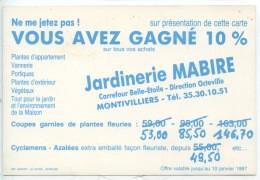 Montivilliers Jardinerie Mabire 1987 - Carte Voeux Gain 10 % (2 Scans) - Montivilliers