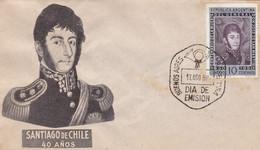 ARGENTINA. CENTENARIO DE LA MUERTE DEL GENERAL DON JOSE DE SAN MARTIN. 1954 FDC ENVELOPPE. - LILHU - Militaria