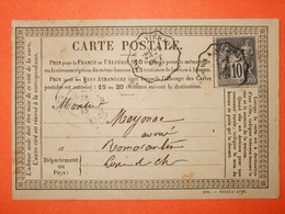 FRANCE TYPE SAGE-N°89 Sur Carte Postale. Oblitération 1878.Convoyeur.  TB - 1876-1898 Sage (Tipo II)