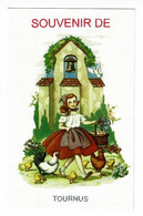 """Carte Fantaisie Illustrée """"Souvenir Tournus"""" Jeune Fille Tenant Panier Plein D'oeufs, Chapelle, Cloche, Poules, Poussins - Otros Municipios"""