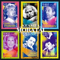 2001 France Sc 2819/2824 Song Artists. Claude François, Michel Berger, Dalida, Barbara Philately **MNH Very Nice, Mint N - Neufs