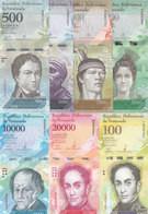 VENEZUELA 500 :100000 BOLIVARES 2016 2017 P 94 :100 UNC 7 NOTES SET - Venezuela